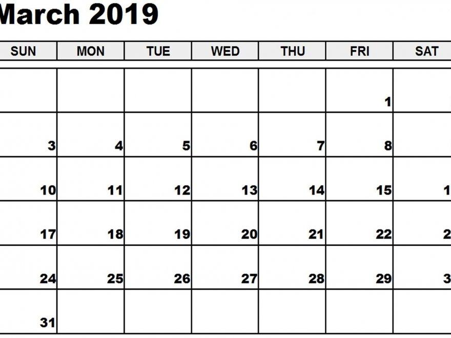 Free Printable 2019 March Calendar