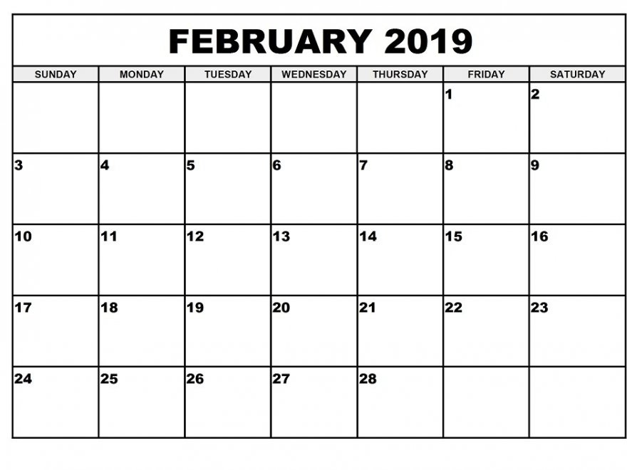 Free Printable February 2019 Calendar Template