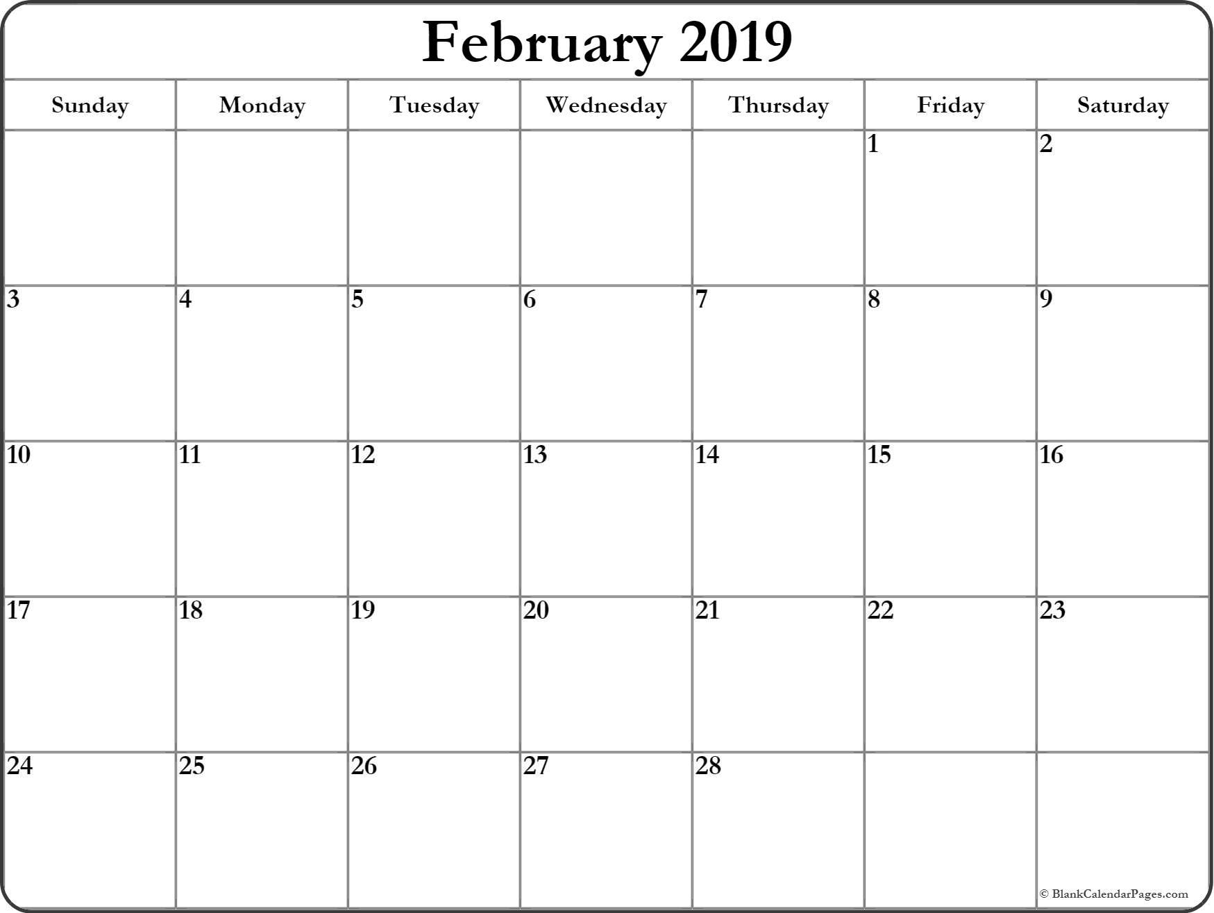 Free Printable Monthly Calendar February 2019