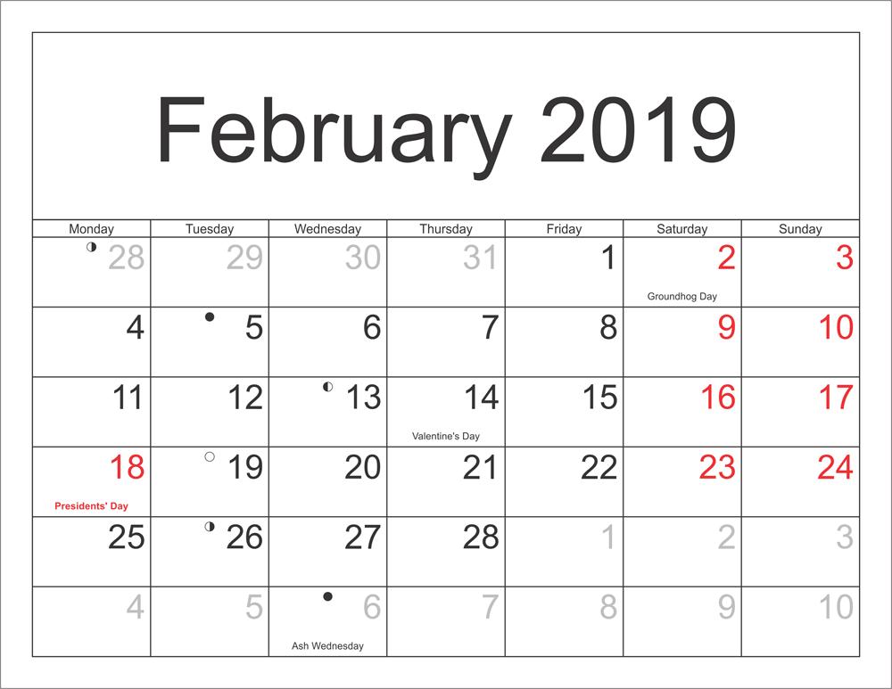 Holidays Calendar February 2019