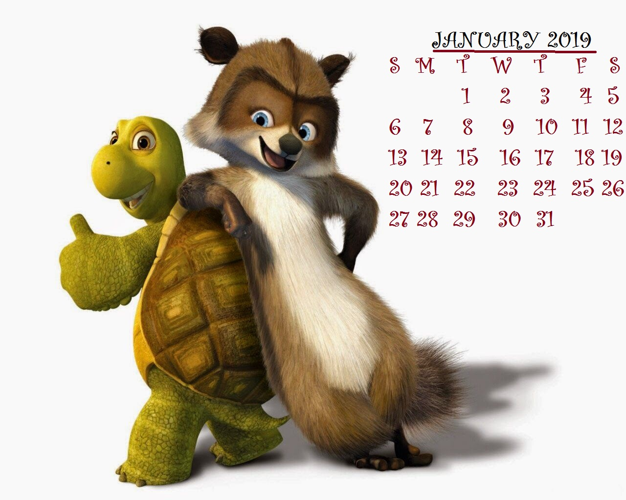 January 2019 Desktop Calendar Wallpaper Animal Friends