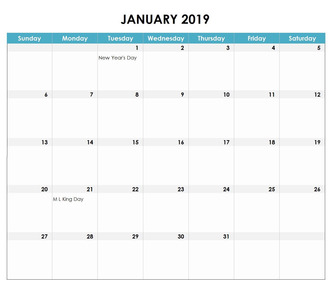 January 2019 Excel Calendar