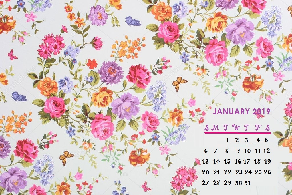 January 2019 Floral Desktop Calendar Wallpaper