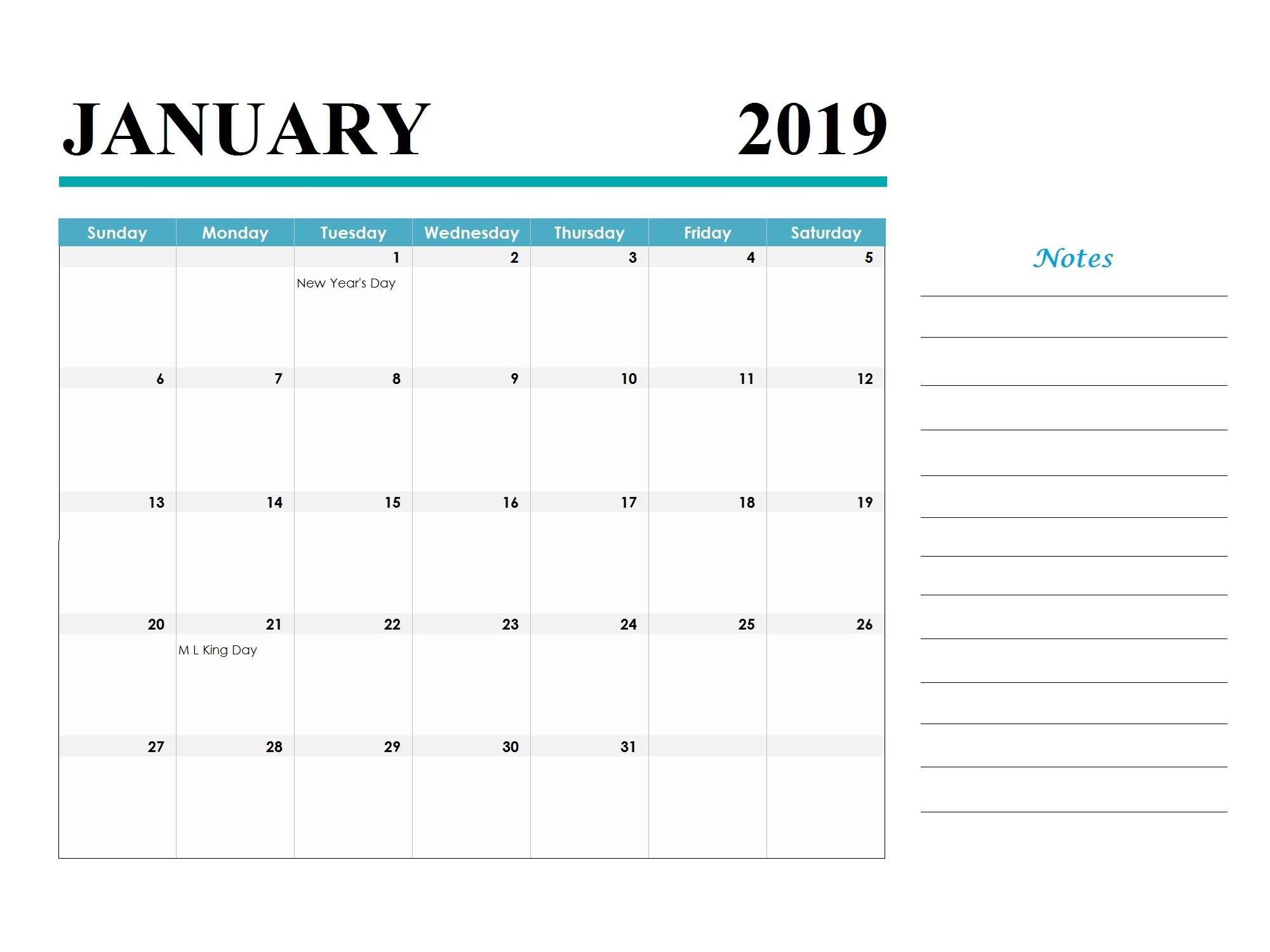 January 2019 Holidays Calendar Template