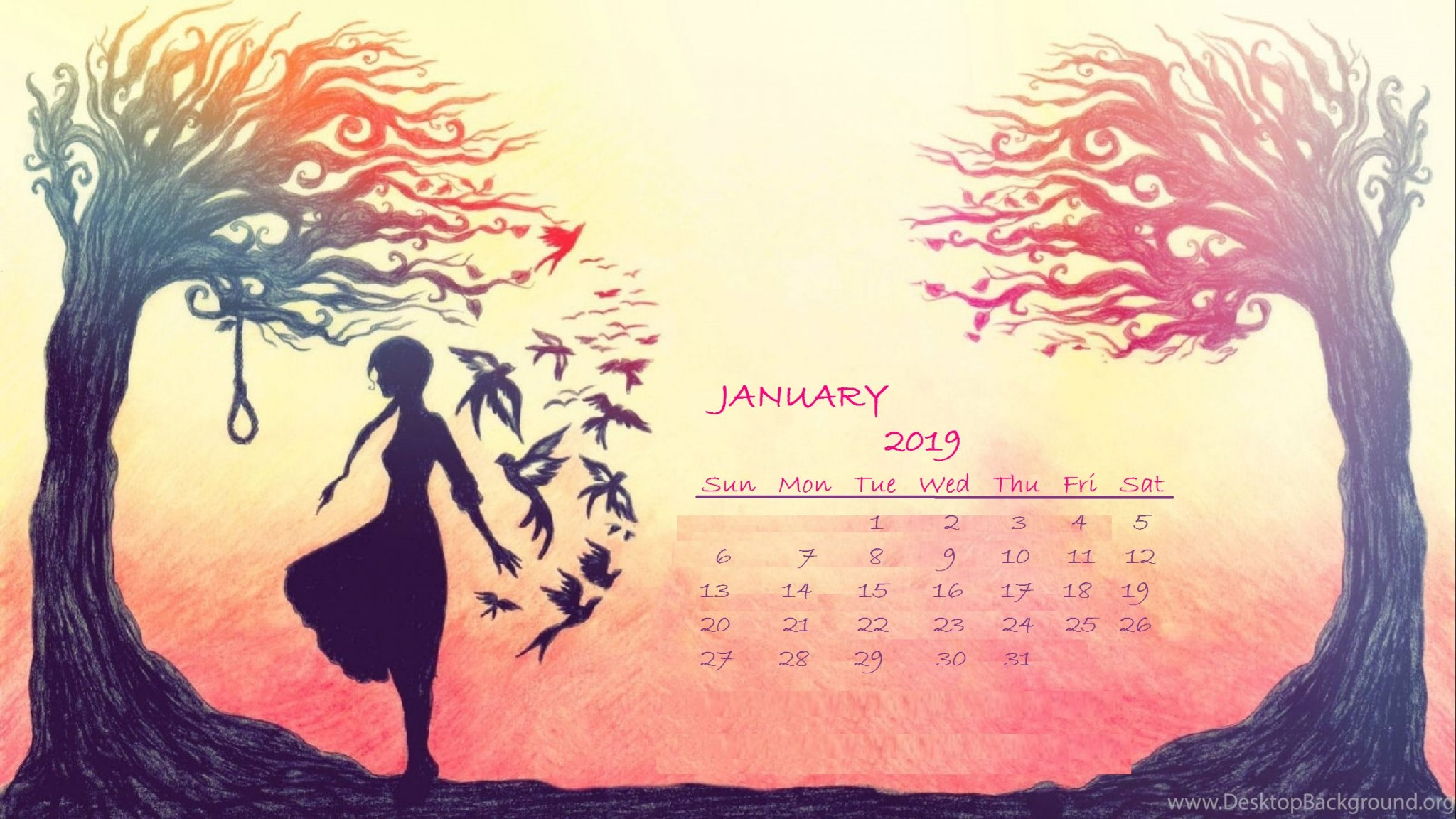 January 2019 Landscape Desktop Calendar