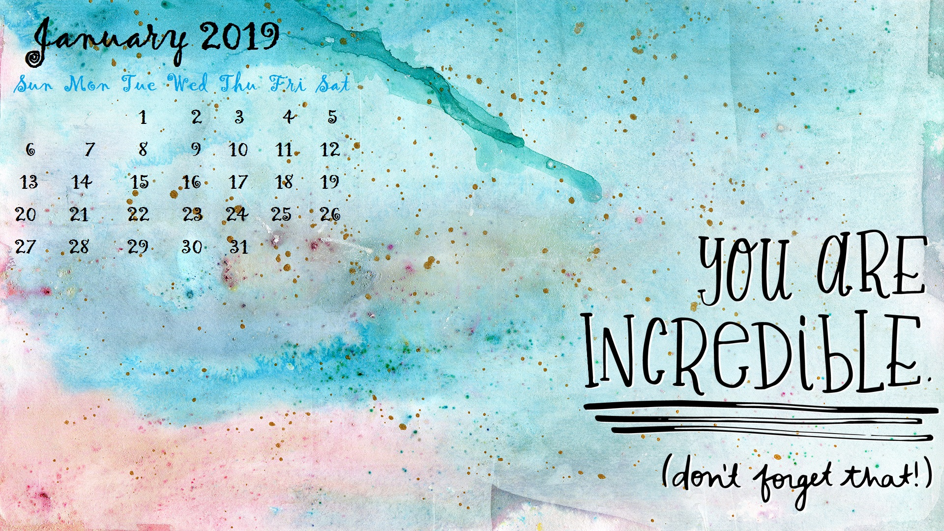 January 2019 Motivational Desktop Calendar