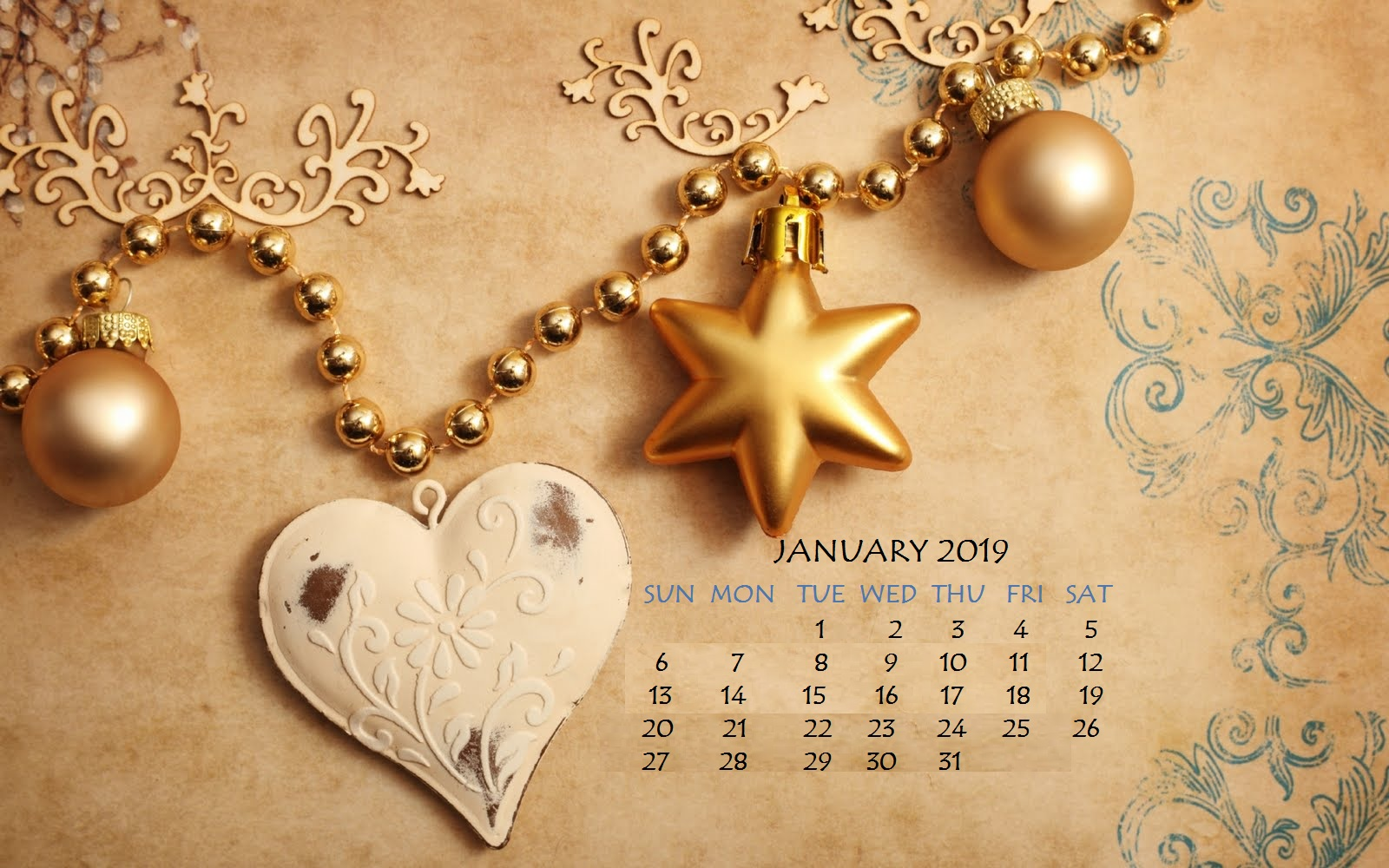January 2019 Pearl Stone Calendar Wallpaper