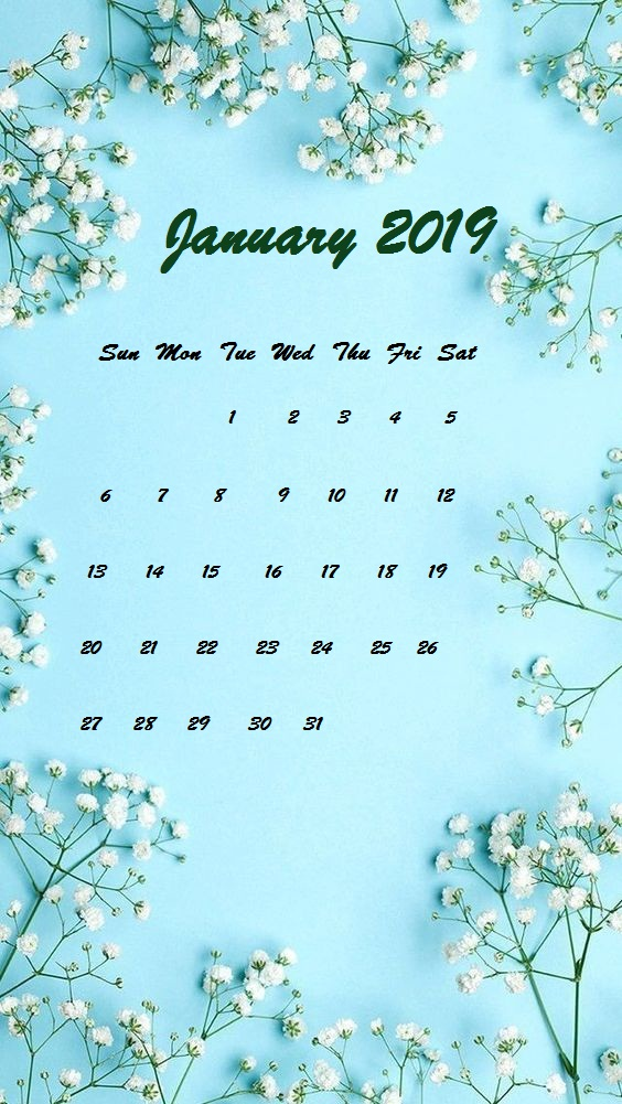 January 2019 Simple iPhone Wallpaper