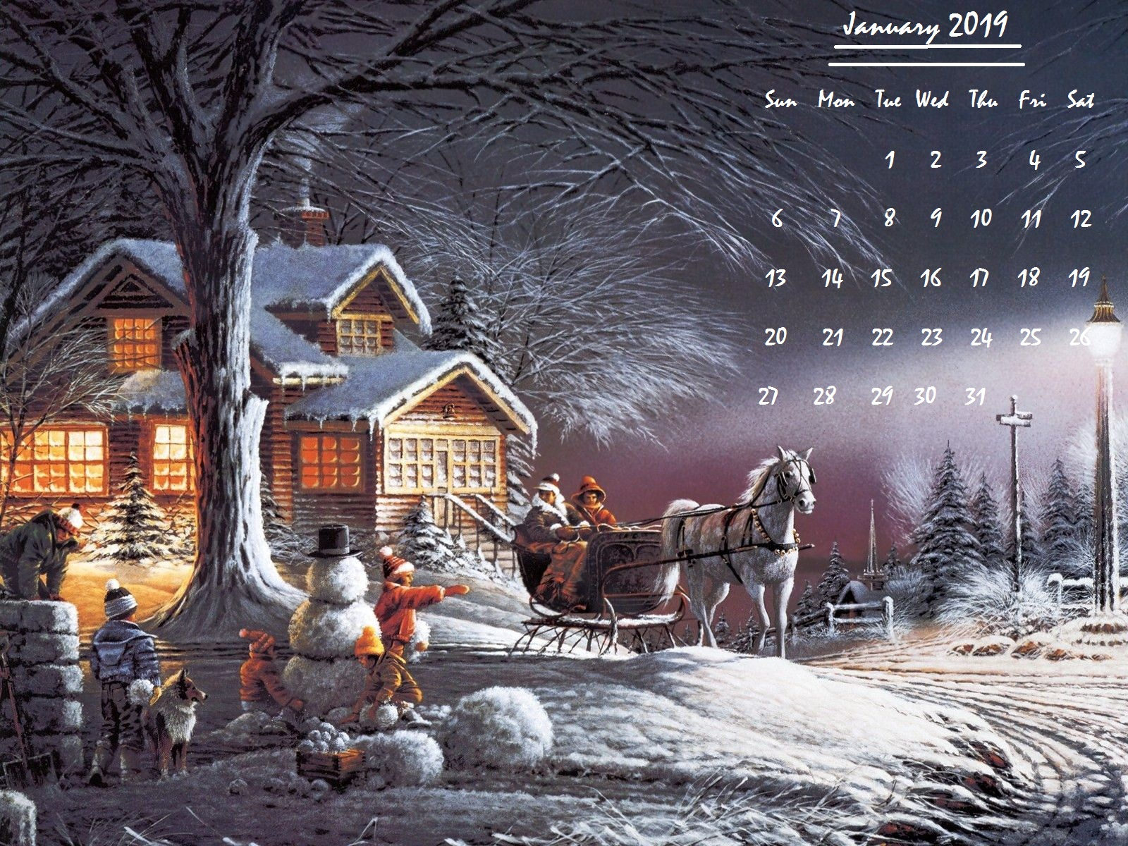 January 2019 Wallpaper Calendar Winters