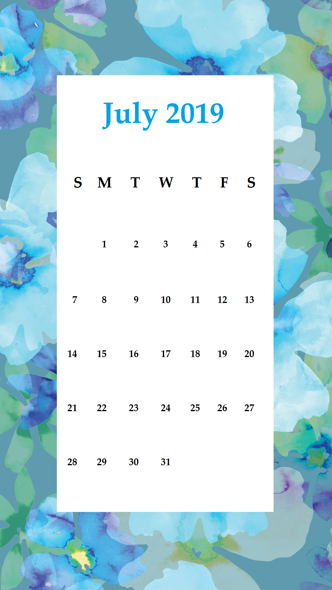 July 2019 Blueish Painting iPhone Calendar Wallpaper