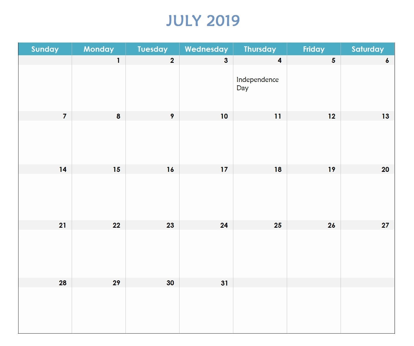 July 2019 Excel Calendar