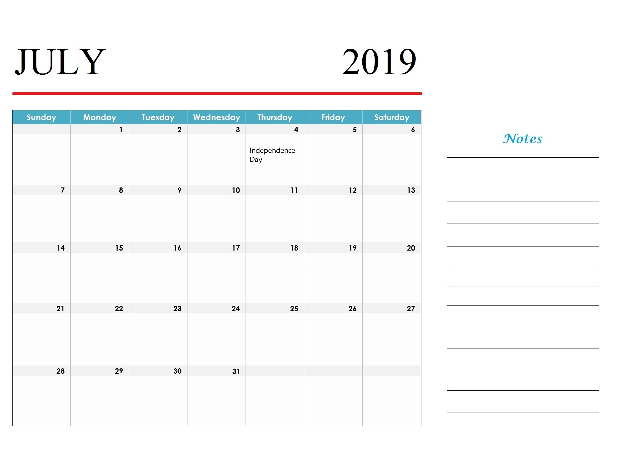 July 2019 Holidays Calendar Template