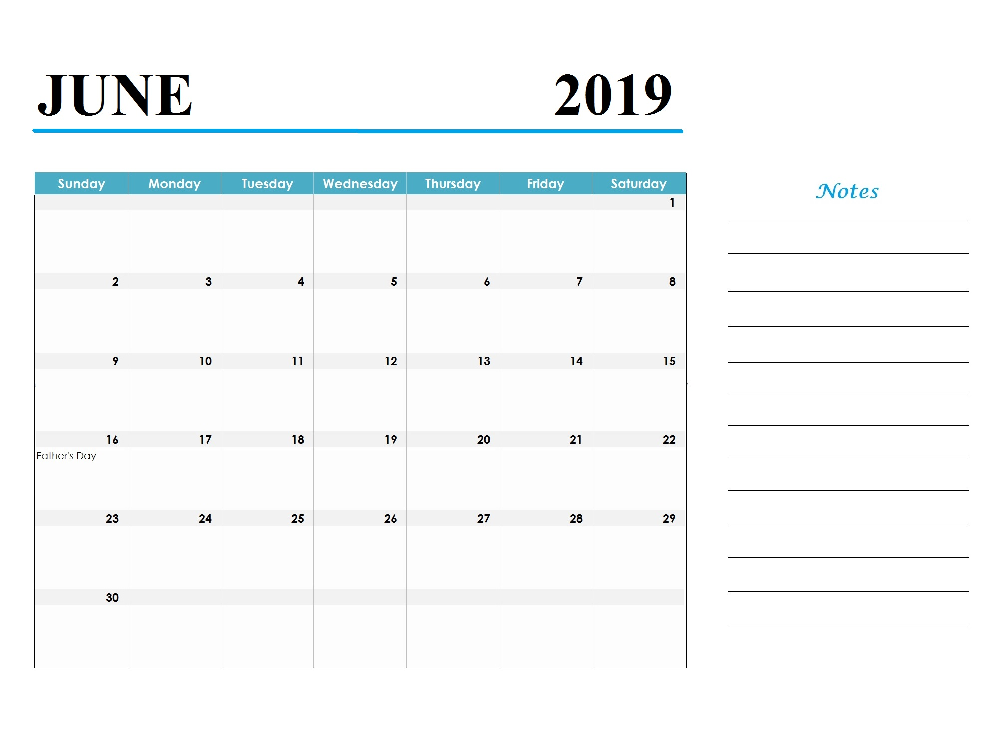 June 2019 Holidays Calendar Template