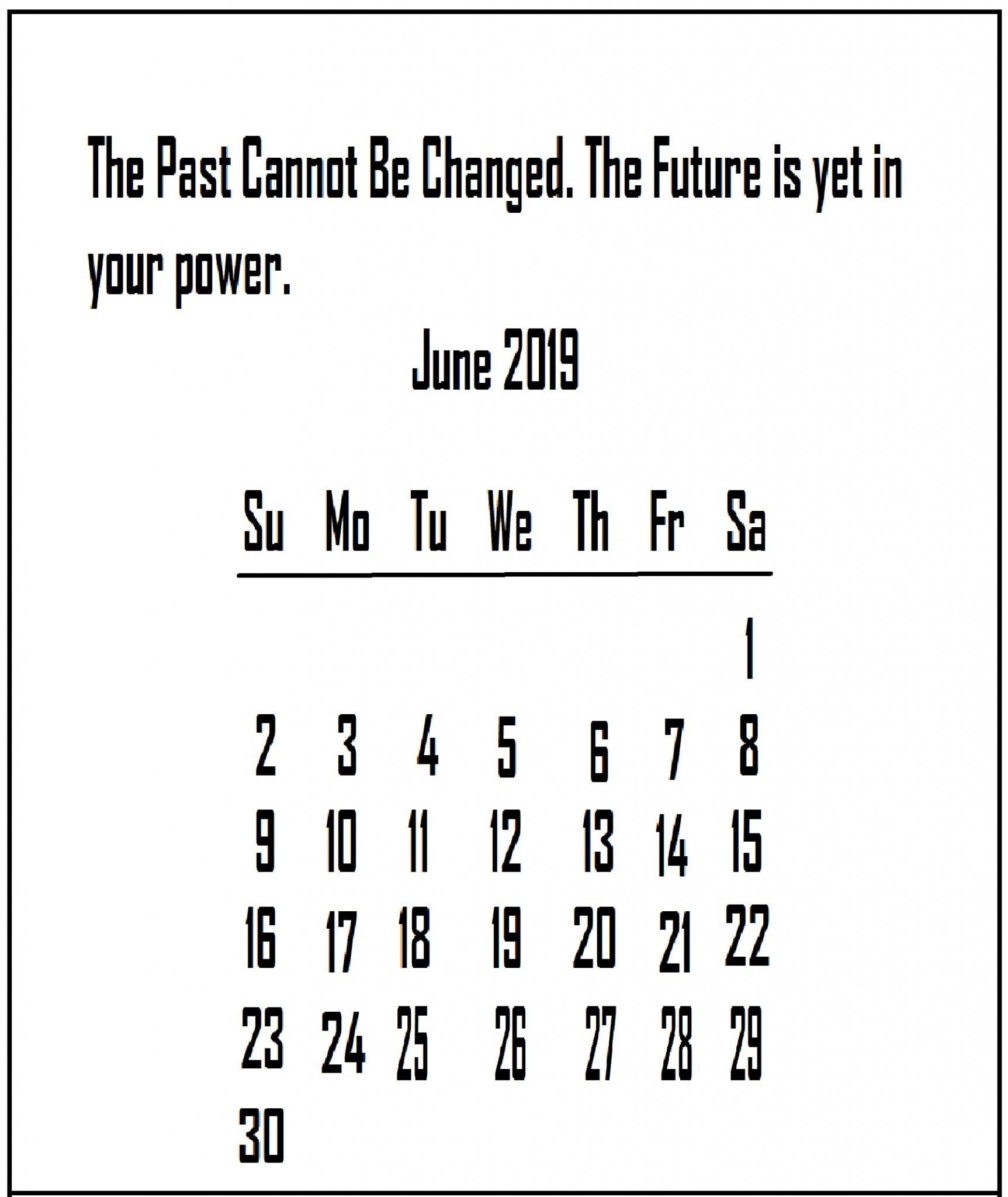 June 2019 Quotes Wallpaper Calendar