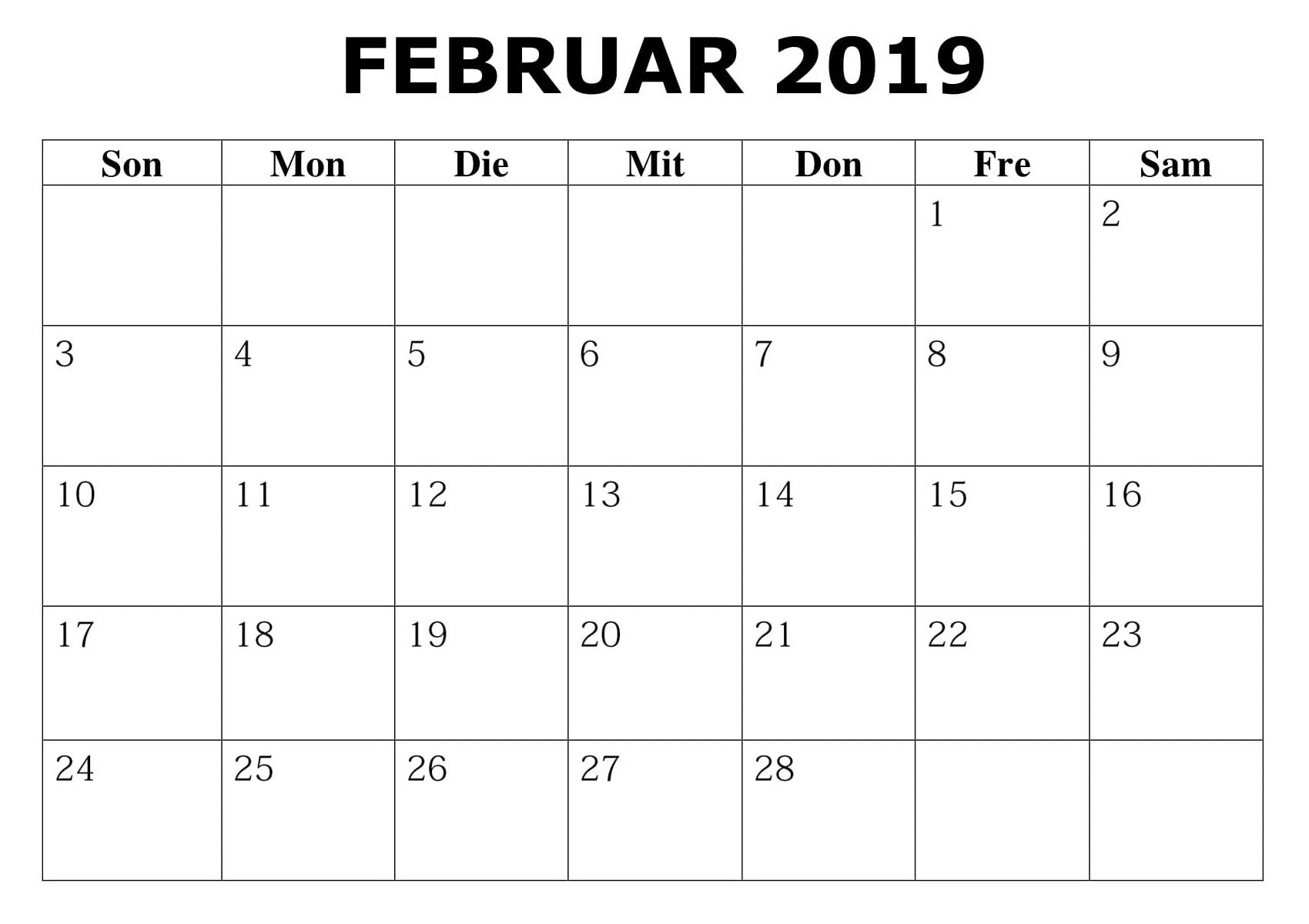 Kalender 2019 Excel Februar