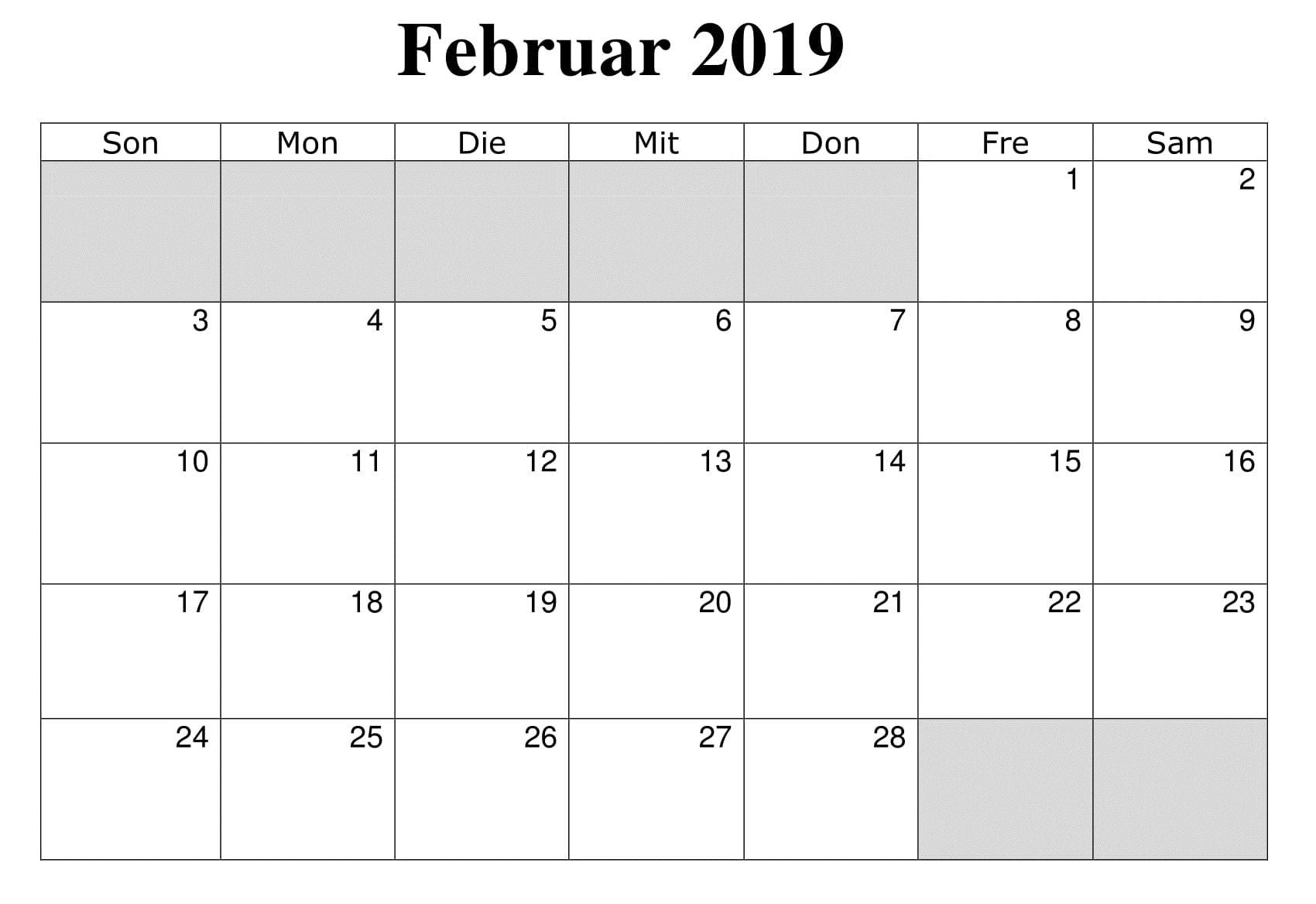 Kalender 2019 Leer Mit Feiertagen Februar