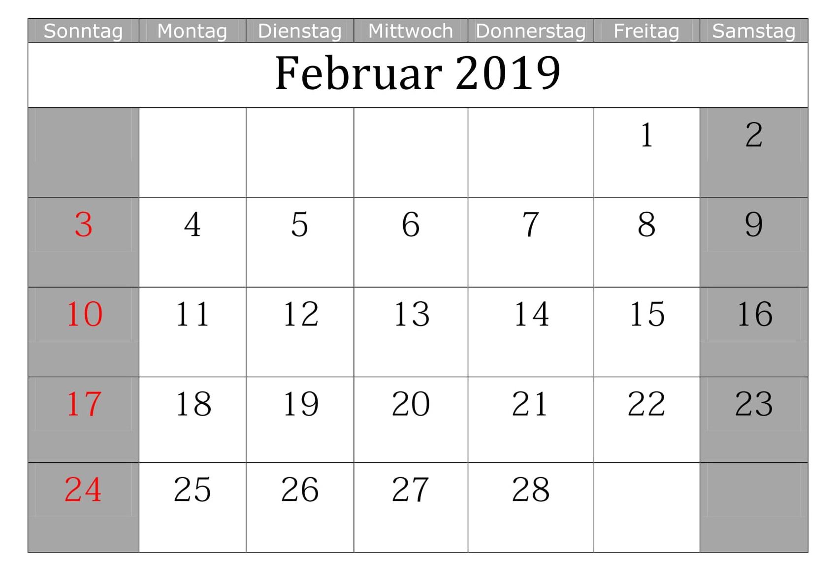 Kalender 2019 Monatlich Mit Feiertagen Februar