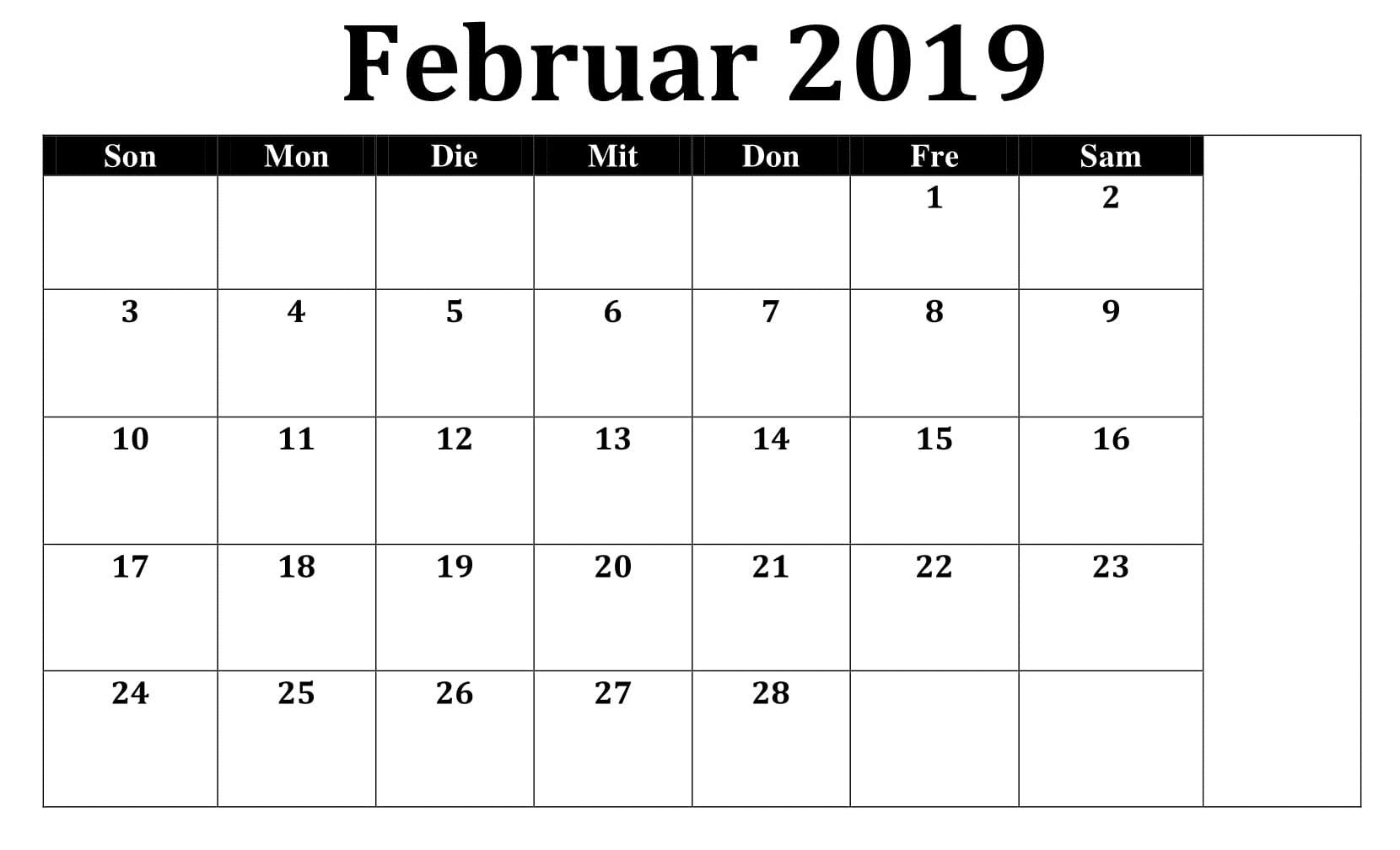 Kalender 2019 Stile Mit Feiertagen Februar
