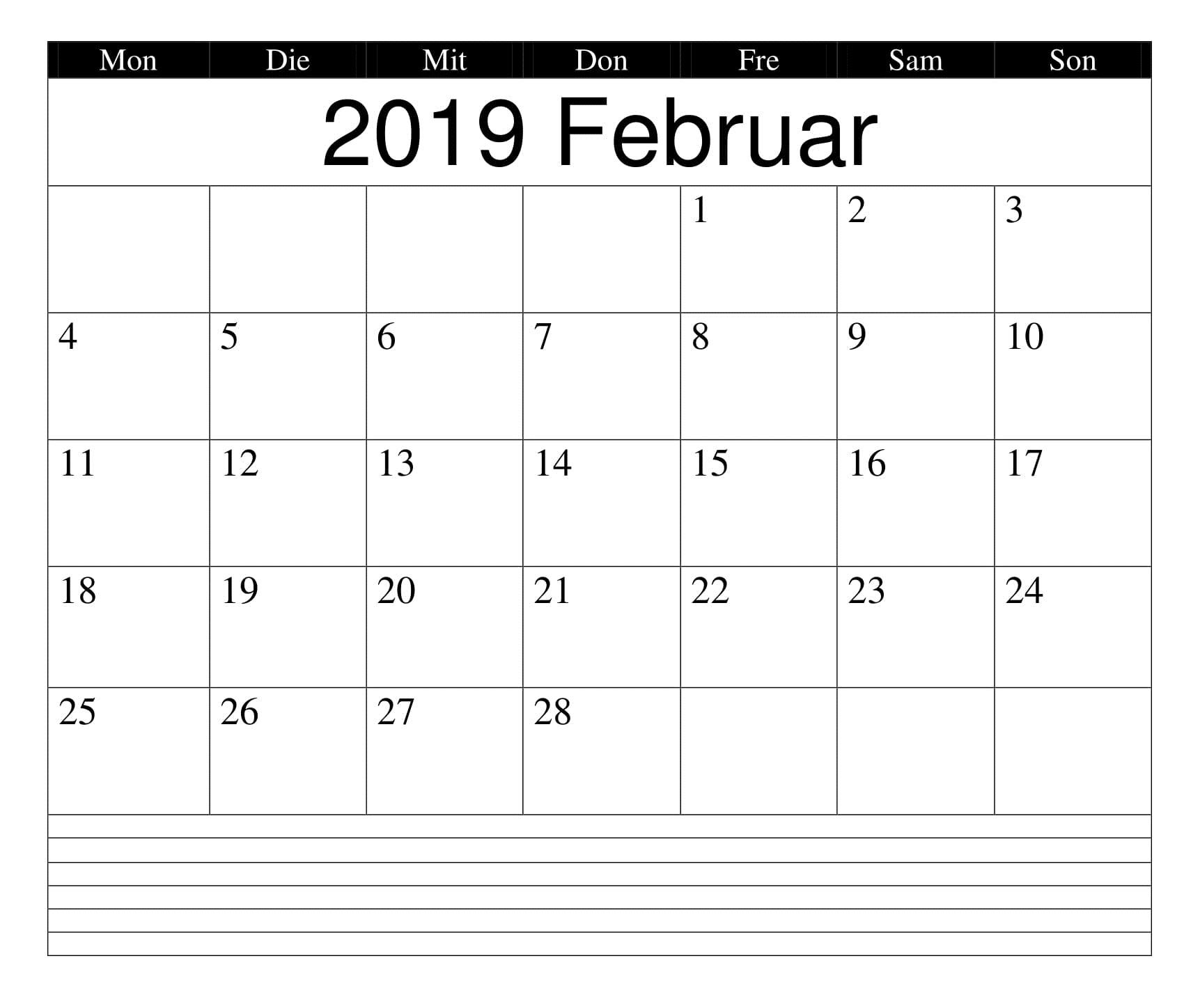 Kalender Februar 2019 Blid Mit Feiertagen
