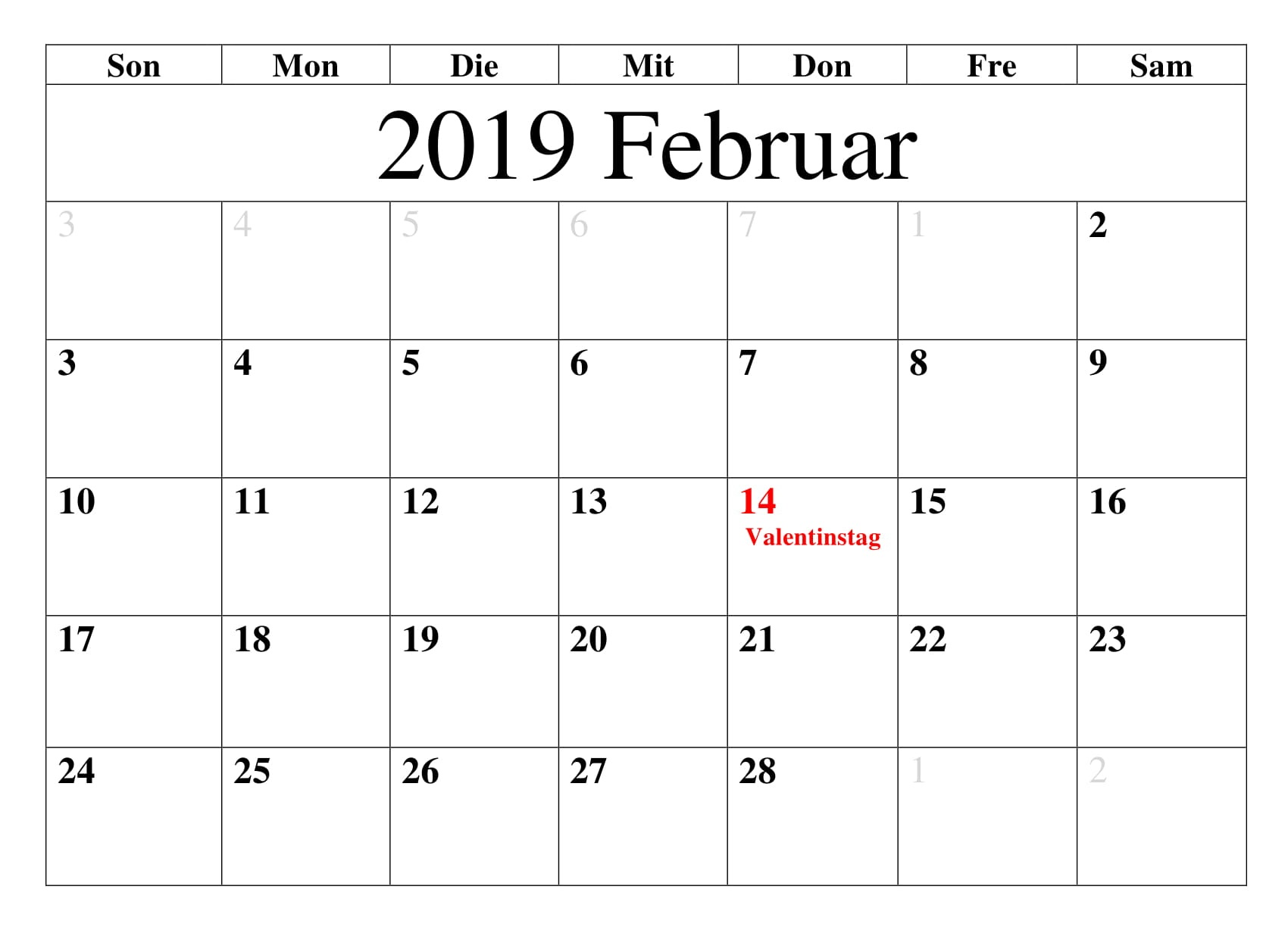 Kalender Februar 2019 Mit Feiertagen Blatt