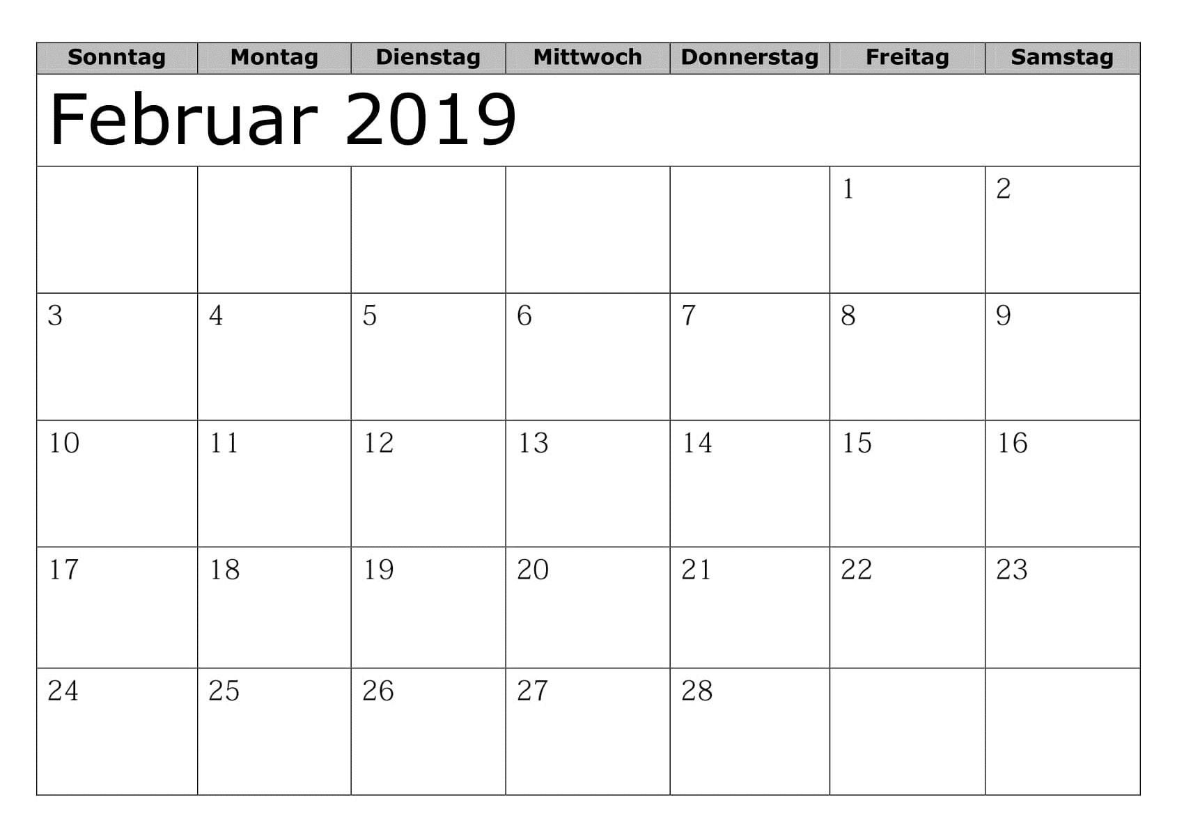 Kalender Februar 2019 Mit Feiertagen Schwarzweib