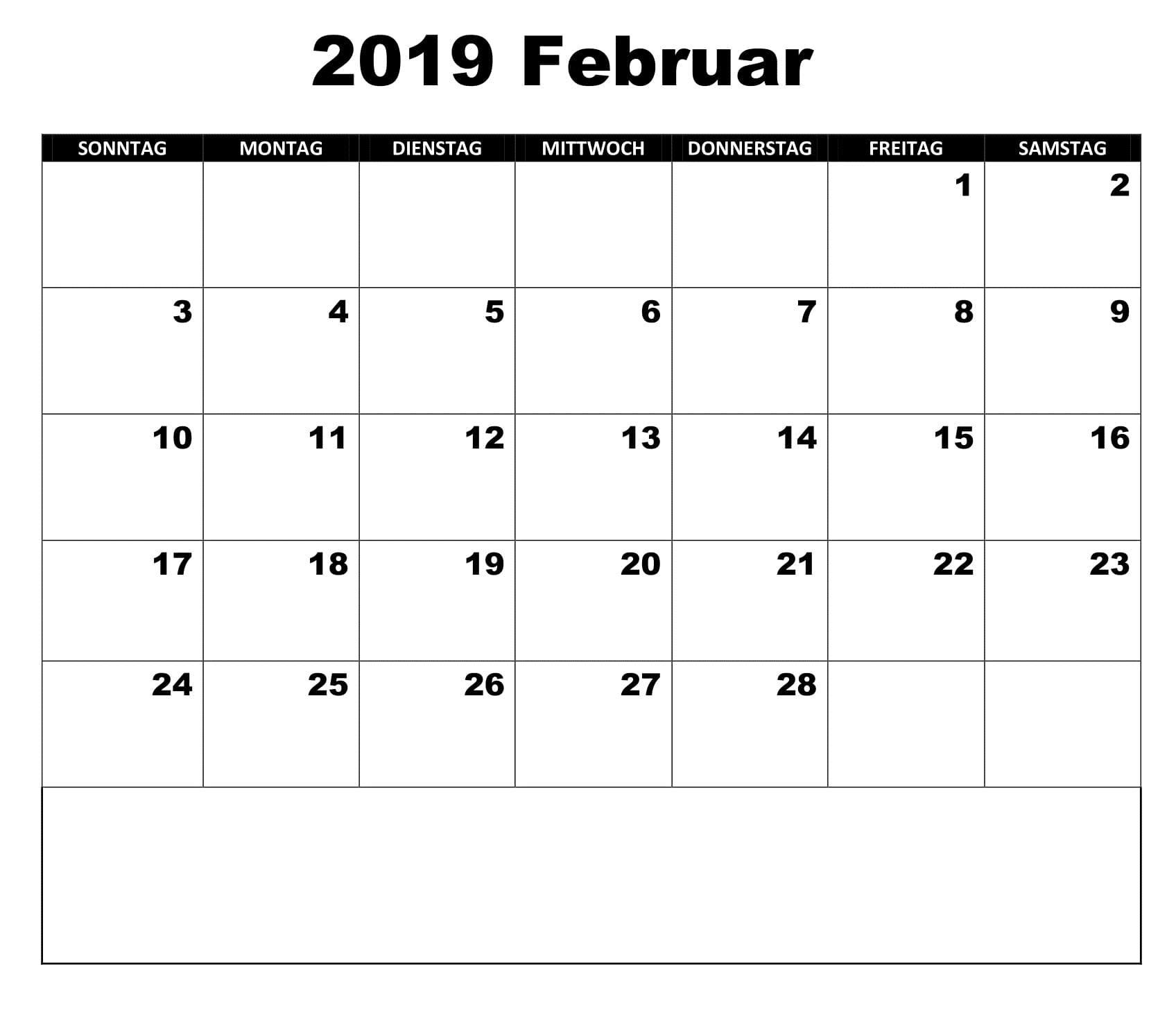 Kalender Februar 2019 Monats