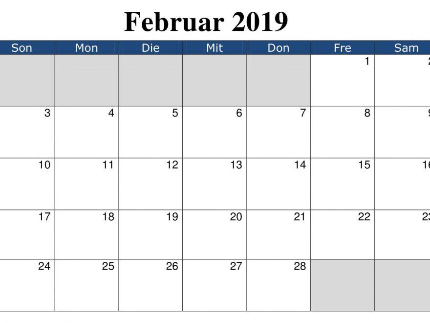 Kalender Februar Anpassen 2019