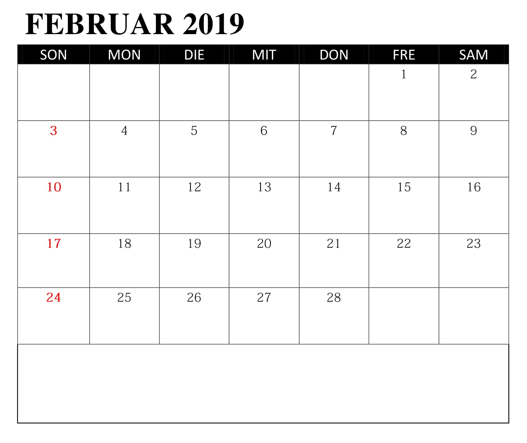 Kalender Februar Mit Feiertagen PDF 2019