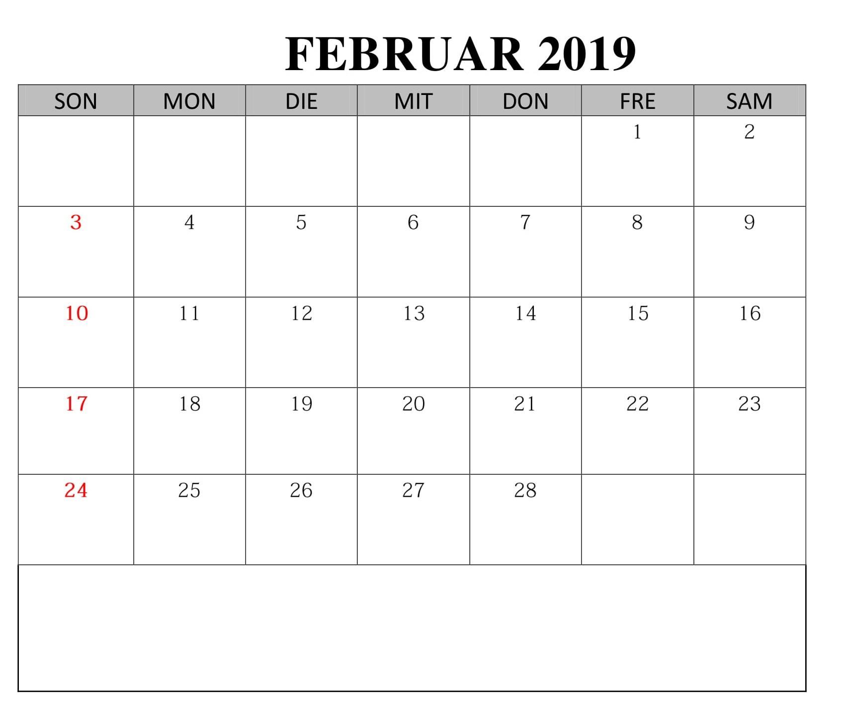 Kalender Februar Notizen 2019