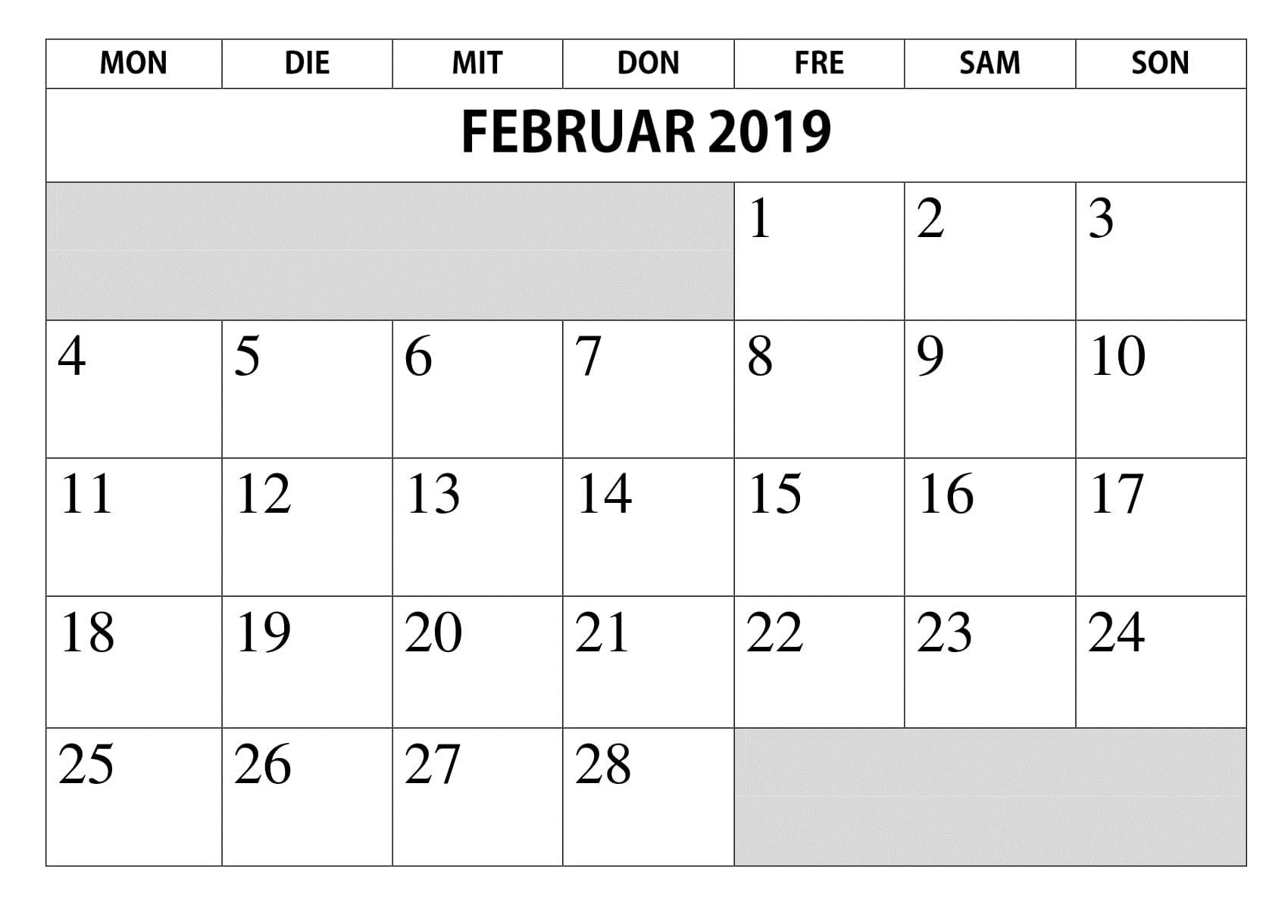 Kalender Februar PDF 2019