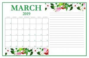 Latest March 2019 Calendar Design