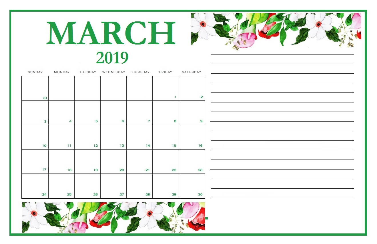 Latest March 2019 Calendar Design