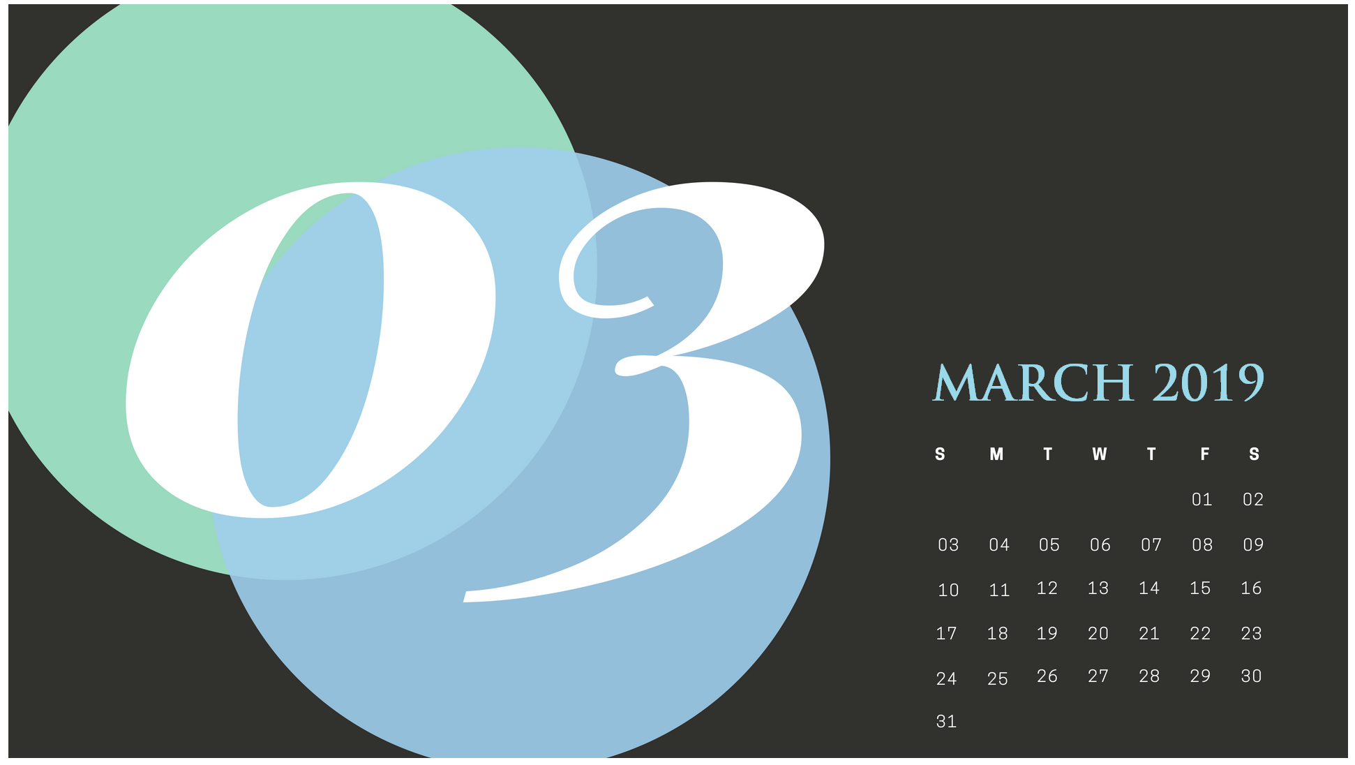 March 2019 Calendar For Table