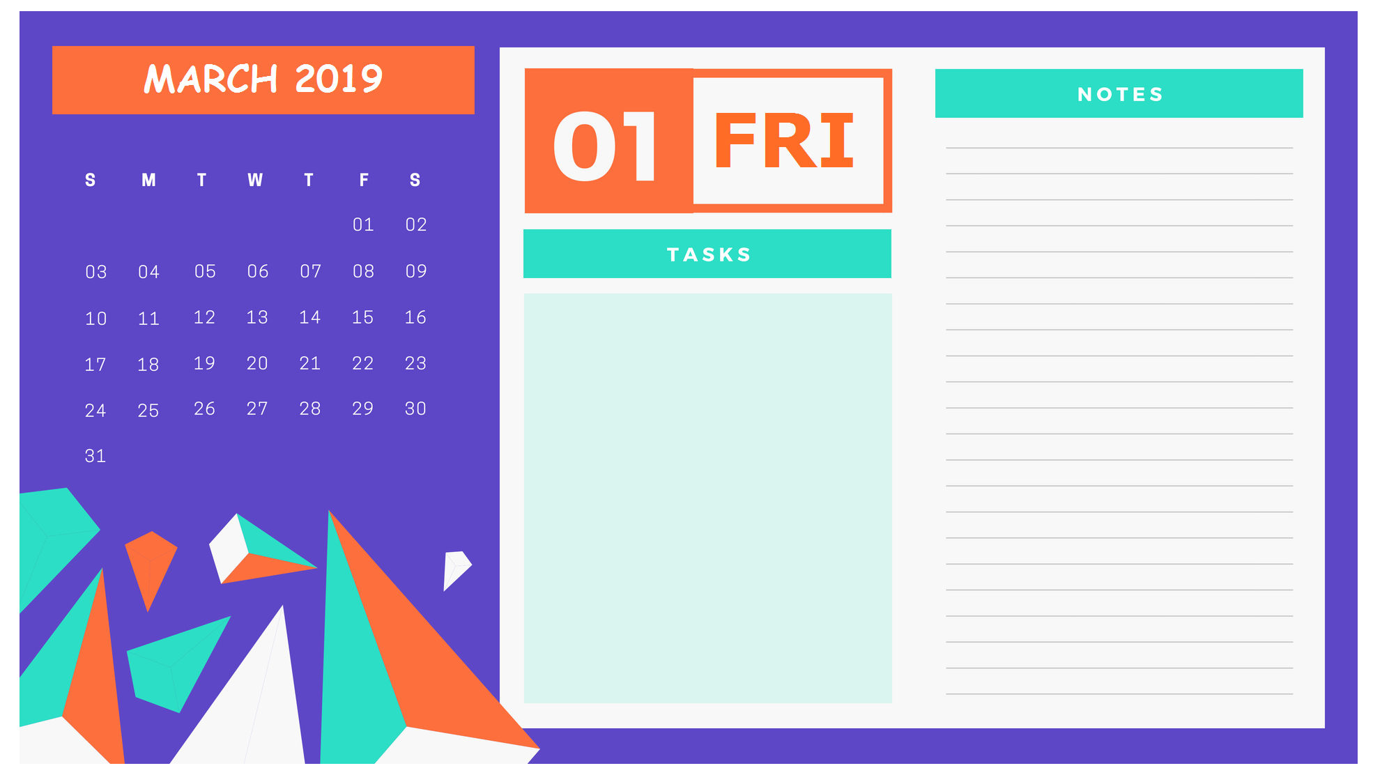 March 2019 Calendar Template Design