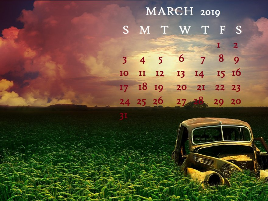 March 2019 Calendar Unique Desktop Wallpaper