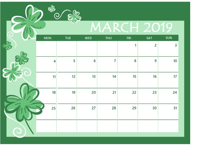 March 2019 Colorful Calendar