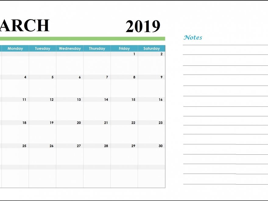 March 2019 Customized Calendar