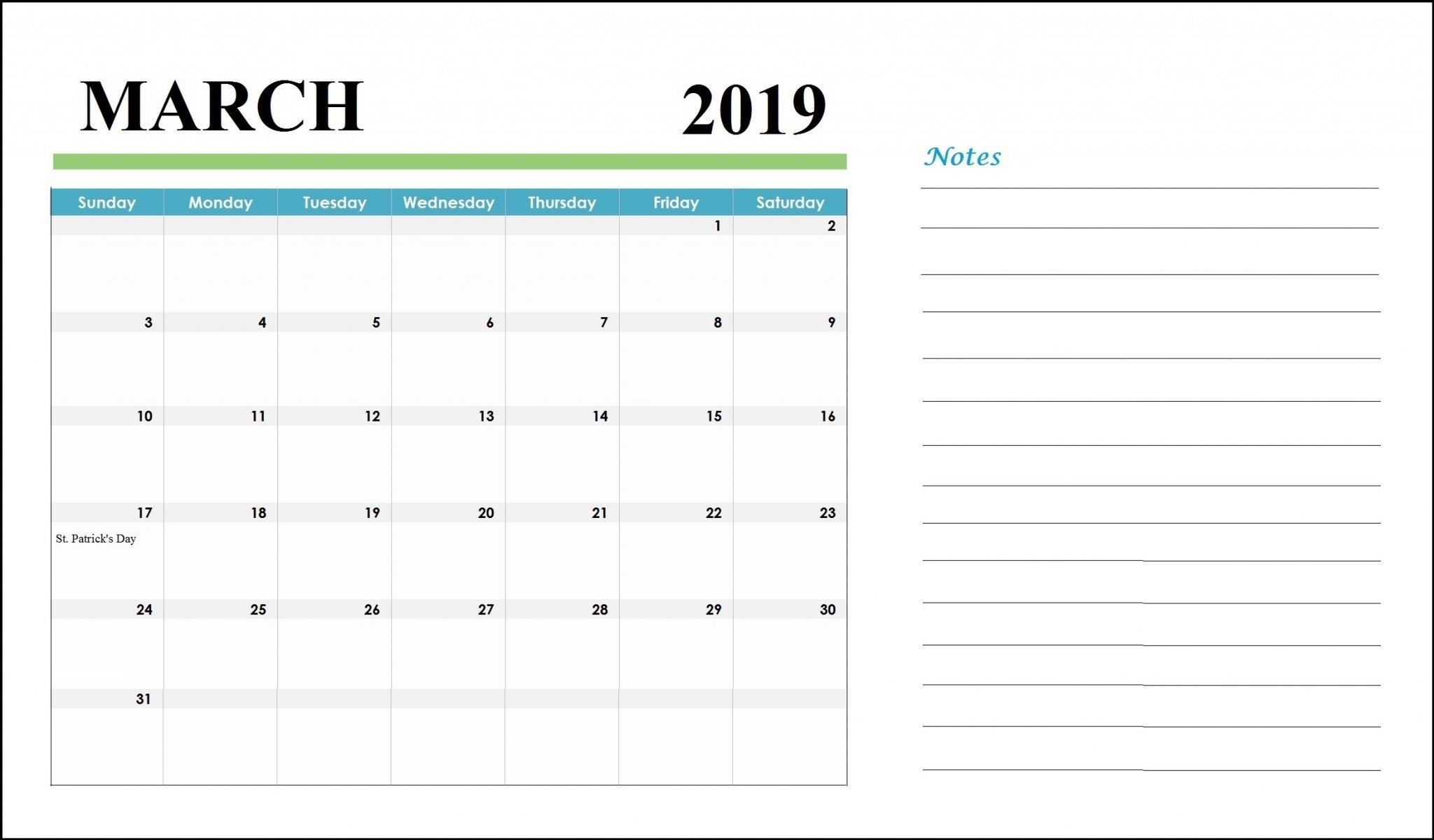March 2019 Customized Calendar