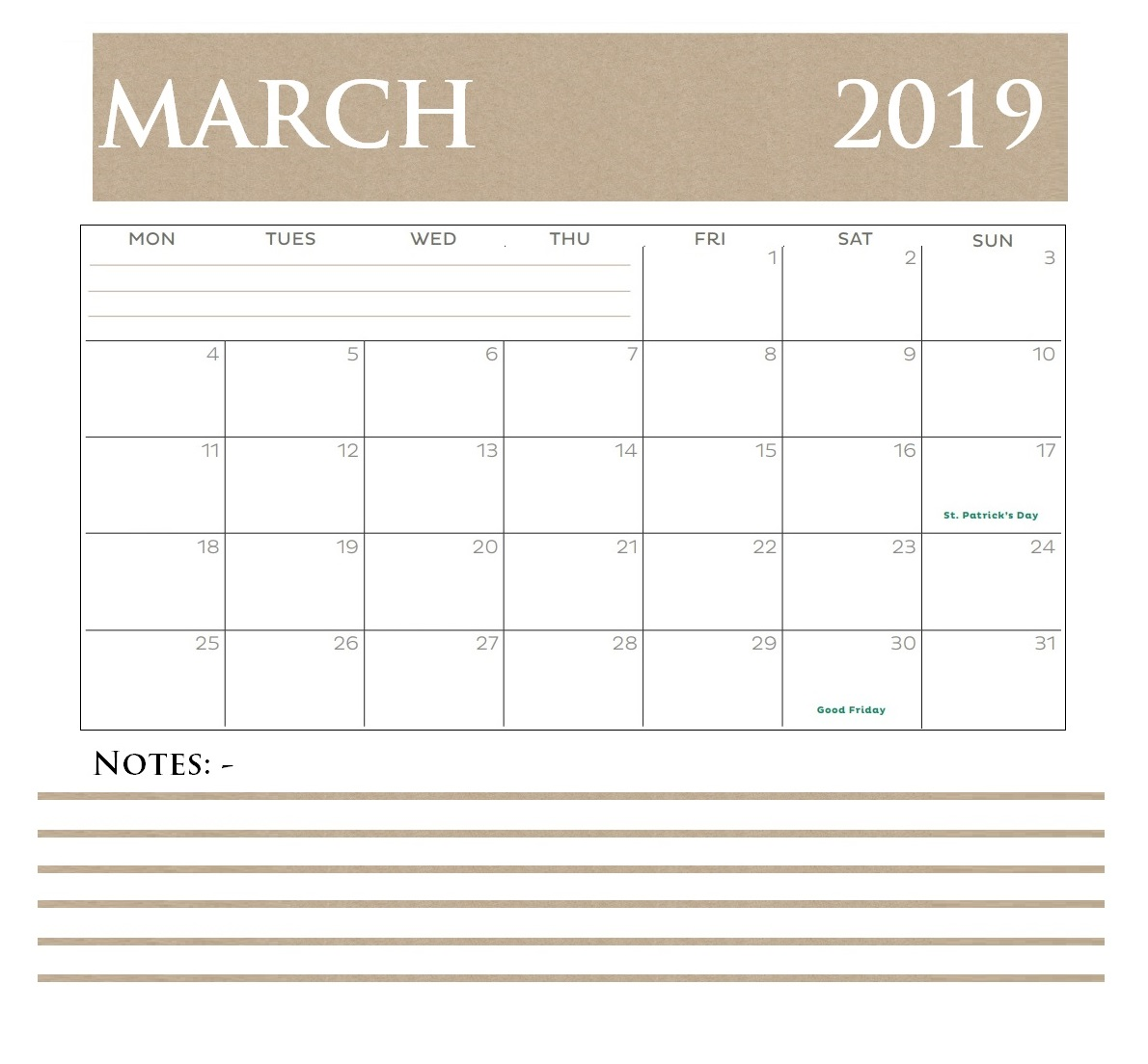 March 2019 Personalized Calendar Template
