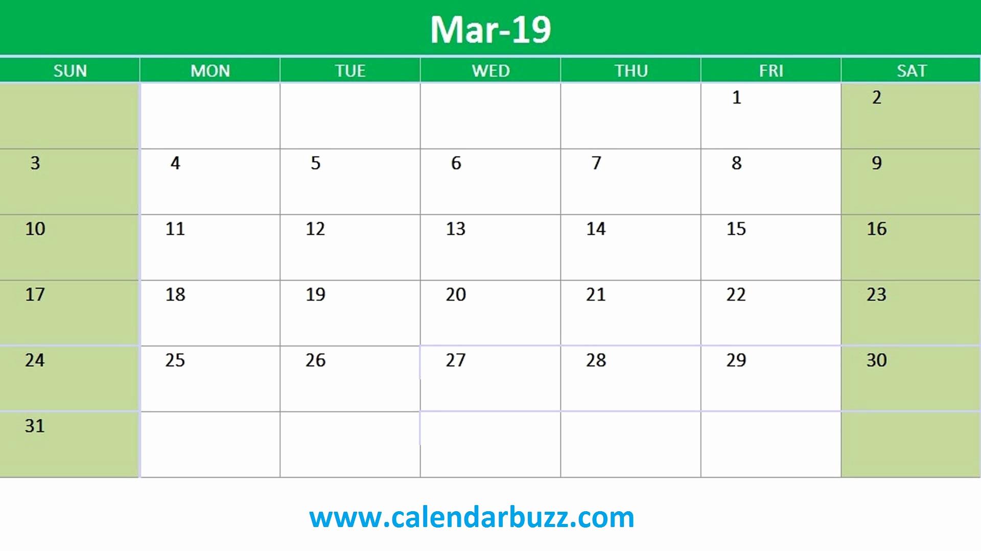 March 2019 Printable Calendar Excel