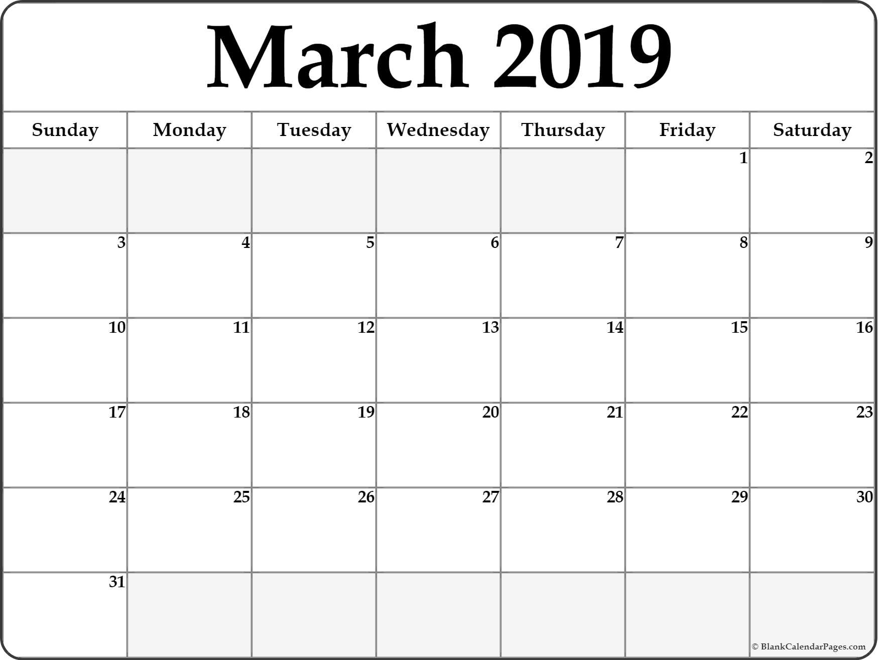 March 2019 Printable Calendar Page