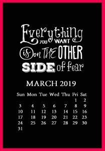 March 2019 Quotes Calendar