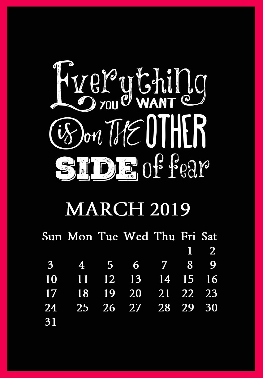 March 2019 Quotes Calendar