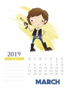Monthly 2019 Star Wars Calendar