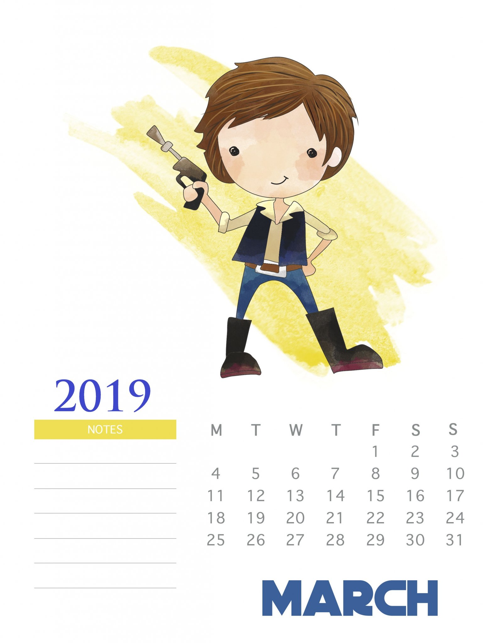 Monthly 2019 Star Wars Calendar