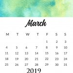 March 2019 Watercolor Calendar Design
