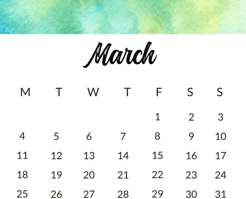 March 2019 Watercolor Calendar Design