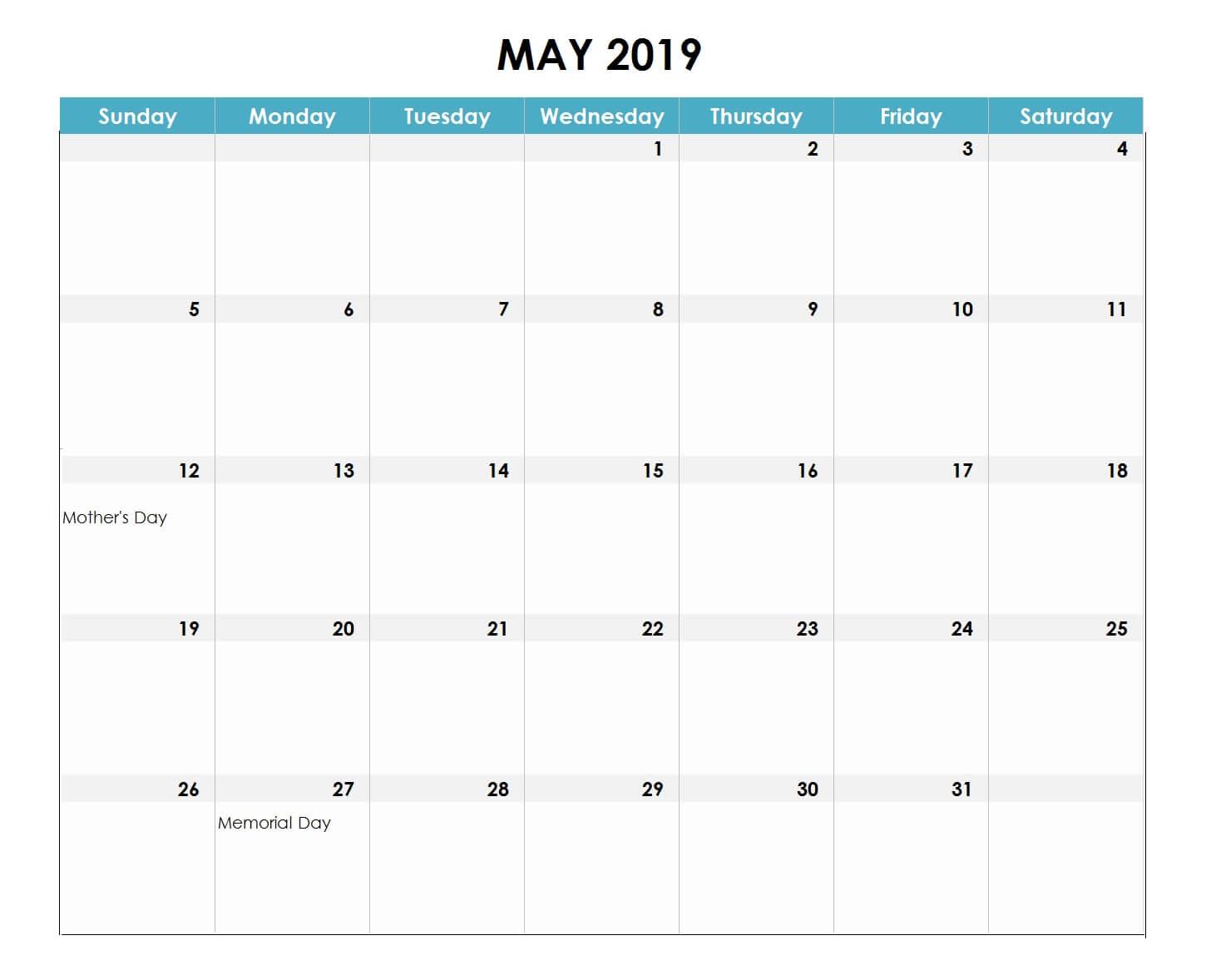 May 2019 Excel Calendar