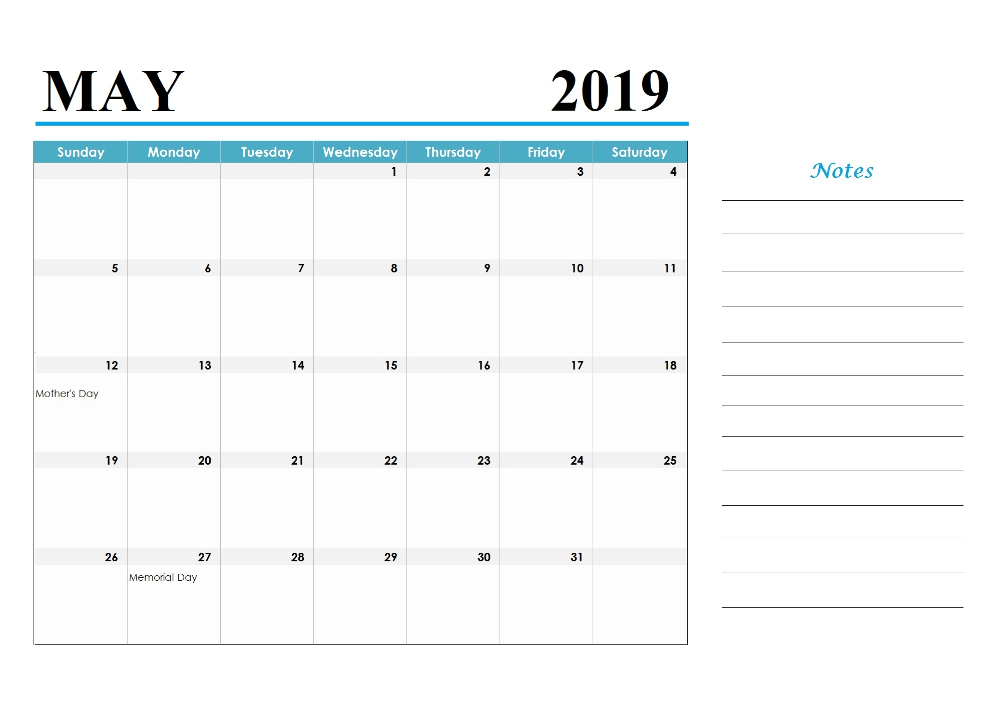 May 2019 Holidays Calendar Template