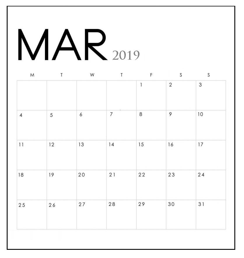 Minimal March 2019 Calendar Design